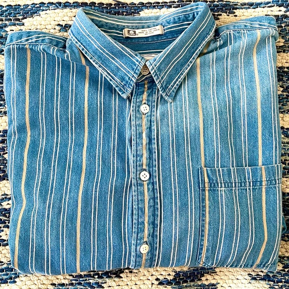 Vintage 90's denim pinstripes western shirt